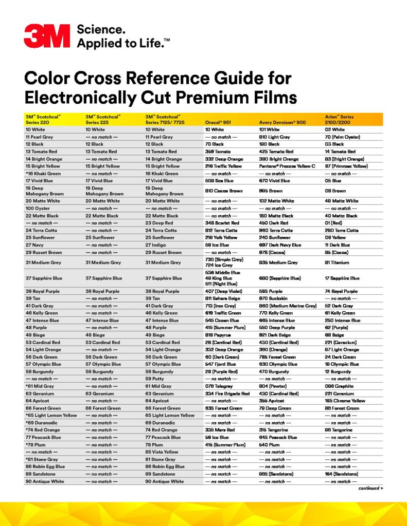 3M Color Cross Reference Guide