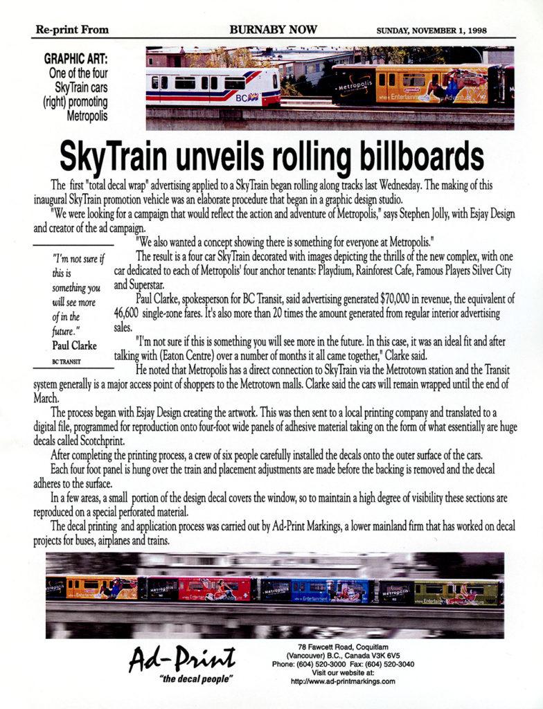1998 Skytrain Advert