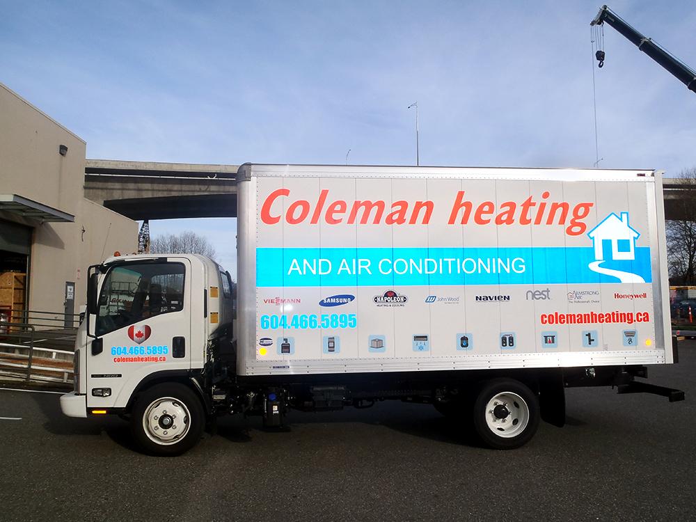 Coleman Heating Truck Decals 2015