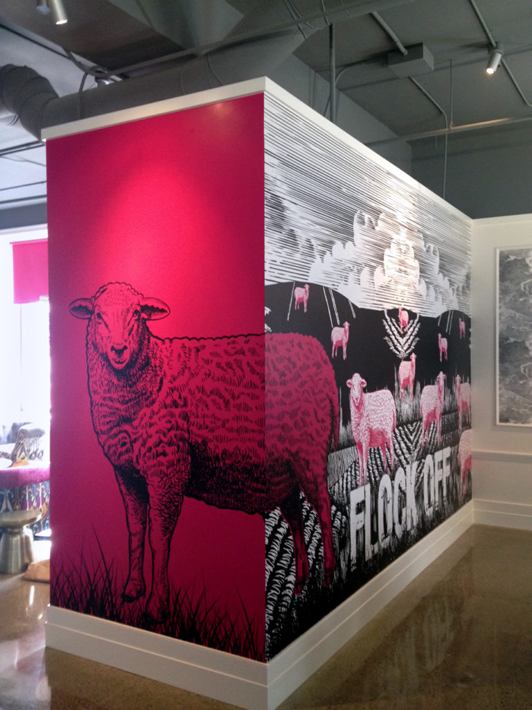 Innovative Station Square Sheep Offices Wall Mural 2015