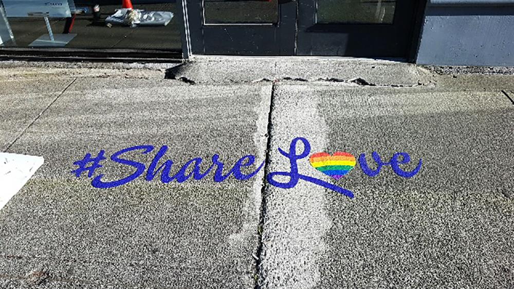 Telus Gay Pride Sidewalk Graphic 2016