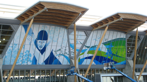 Window graphics at the Richmond Olympic Oval by AMPCO Graphics.